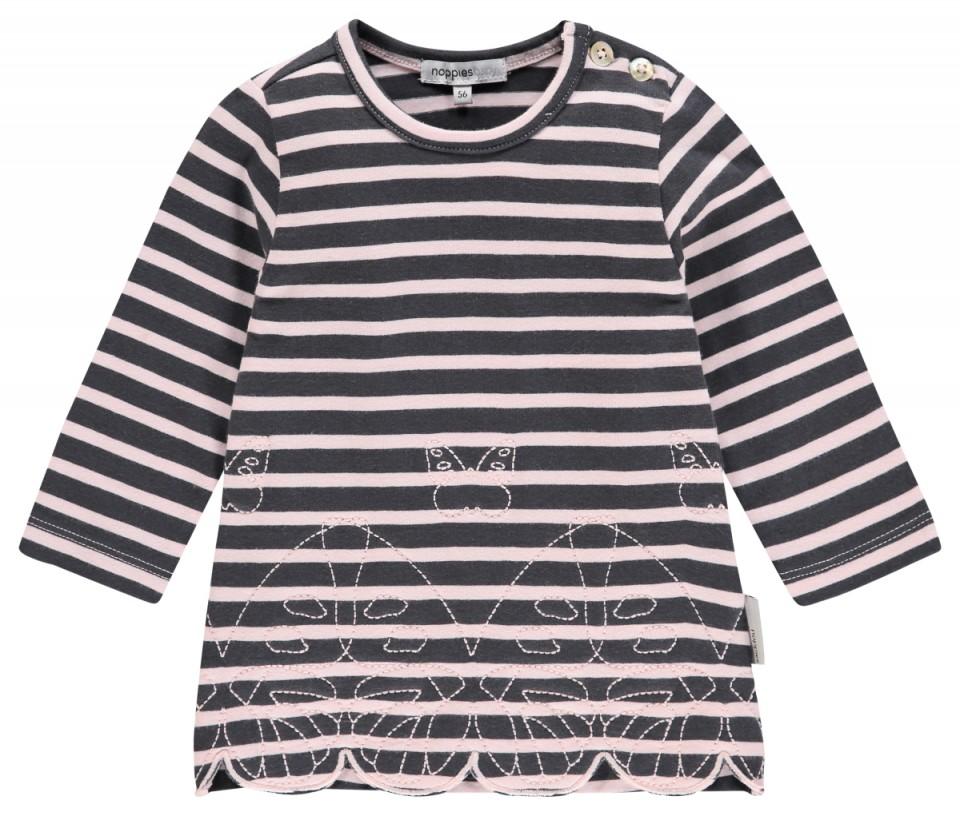 Noppies jurk roze grijs gestreept