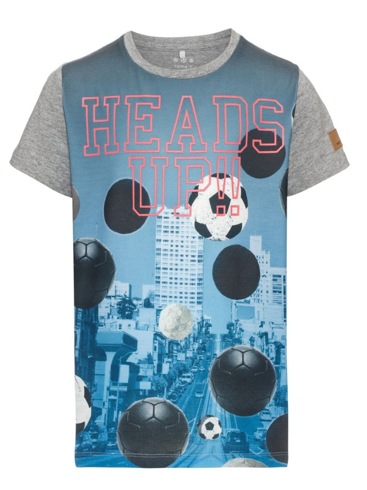 Name-it t-shirt grijs voetbal print Heads Up!!