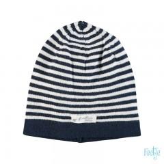 Feetje muts navy blauw gestreept gebreid First knit