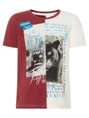Name-it t-shirt bordeaux of white print