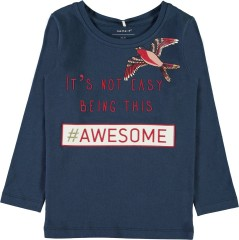 Name-it longsleeve blauw Awesome vogel