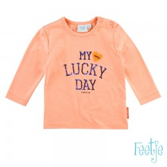 Feetje longsleeve neon orange Lucky day Easy