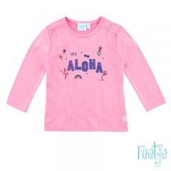 Feetje longsleeve neon roze Aloha Exotic