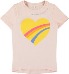 Name-it t-shirt roze glitter hart