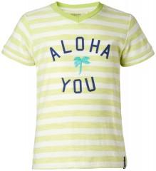 Noppies t-shirt lime wit gestreept Aloha