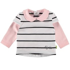 BESS poloshirt wit gestreept roze kraag