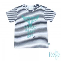 Feetje t-shirt blauw wit gestreept Ocean Life