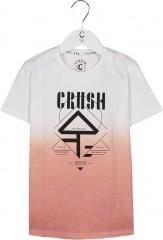 Crush denim t-shirt wit roze Logo Gradene