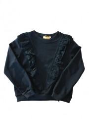 Yoyo s. sweater zwart broderie ruches