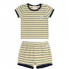 Carrément Beau set short shirt navy streep