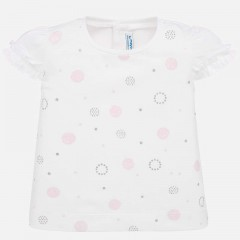 Mayoral t-shirt wit roze dots